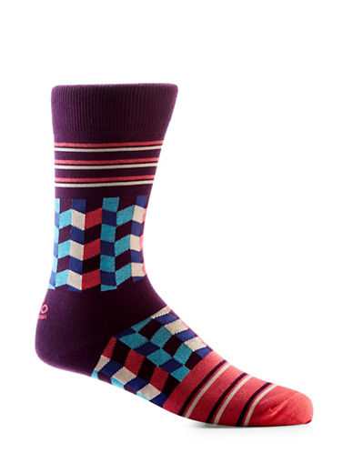 Yo Sox 3D Cubes Crew Socks-RED/BLACK-7-12