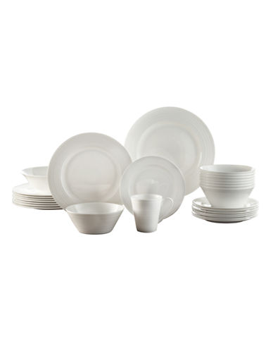 Roscher Fusion 34-Piece Bone China Dinnerware Set-WHITE-One Size