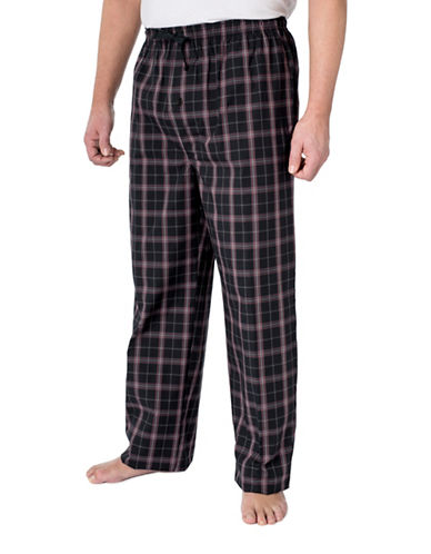 StanfieldS Poplin Plaid Lounge Pant-BLACK/RED-Large