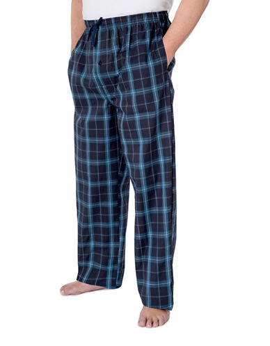 StanfieldS Poplin Plaid Lounge Pant-NAVY/LIME-Medium
