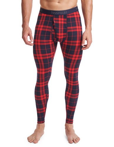 StanfieldS Printed Thermal Pants-RED/BLACK PLAID-X-Large