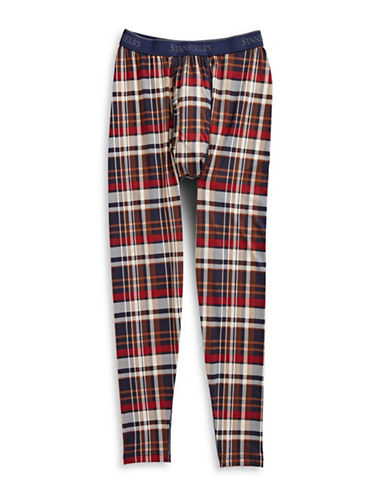 StanfieldS Printed Thermal Pants-BROWN PLAID-Large