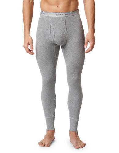 StanfieldS Cotton Long Thermal Bottoms-GREY-Large