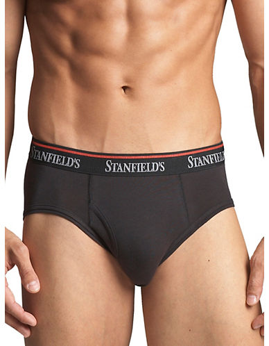 StanfieldS Three-Pack Stretch Briefs-BLACK-X-Large