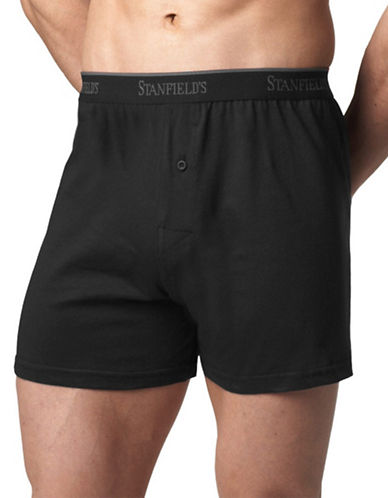 StanfieldS Knit Boxer Shorts-BLACK-Small