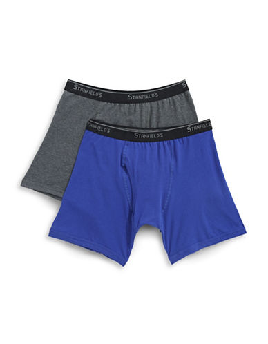 StanfieldS Two-Pack Essentials Stretch Boxer Briefs-CHARCOAL/BLUE-X-Large