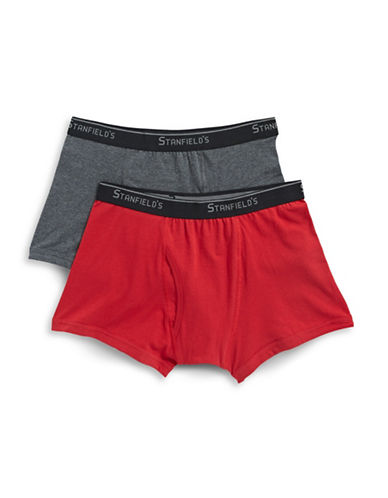 StanfieldS Two-Pack Essentials Stretch Boxer Trunks-CHARCOAL/RED-Medium