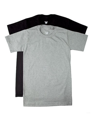 StanfieldS 2 Pack Cotton Crew Neck Tee Shirt-BLACK / GREY-Large