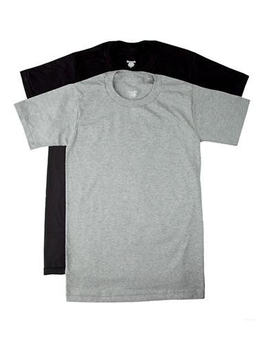 StanfieldS 2 Pack Cotton Crew Neck Tee Shirt-BLACK / GREY-Medium