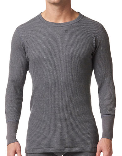 StanfieldS Thermal Waffle-Knit Long Sleeve Shirt-CHARCOAL-X-Large