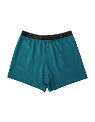 StanfieldS Knit Cotton Boxers-DARK TEAL-Small