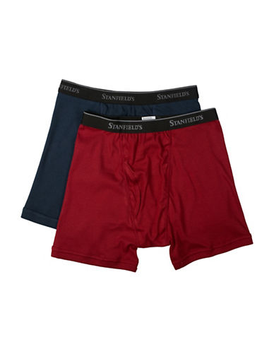 StanfieldS Two Pack Cotton Boxer Briefs-NAVY/BURGUNDY-Large