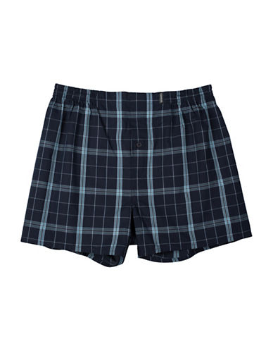 StanfieldS Cotton Woven Boxer-BLACK PLAID-Large