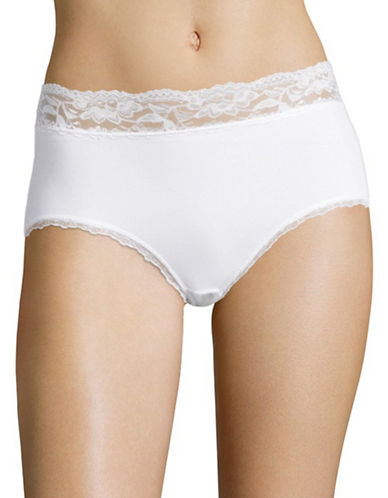 Elita Lace Trim Briefs-WHITE-X-Large