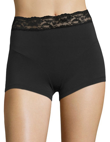 Elita Lace Trim Boyshorts-BLACK-Large