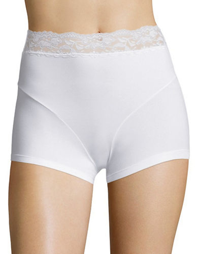 Elita Lace Trim Boyshorts-WHITE-X-Large