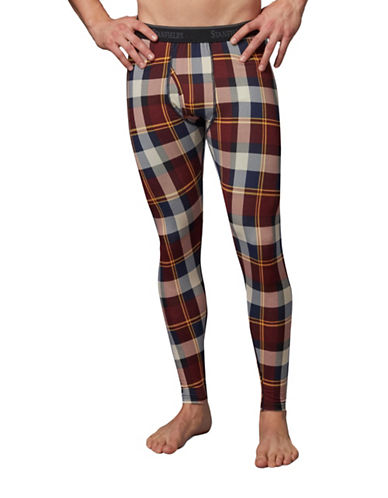 StanfieldS Printed Thermal Pants-RED PLAID-Large