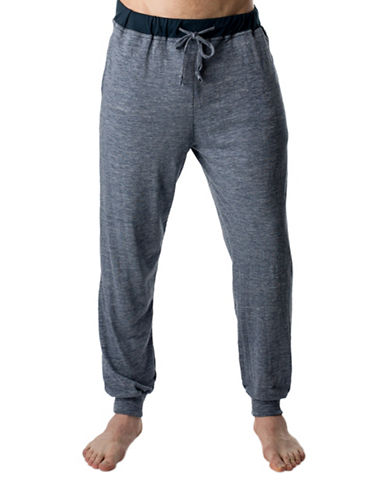 StanfieldS Heathered Slim-Fit Lounge Pants-NAVY-Large