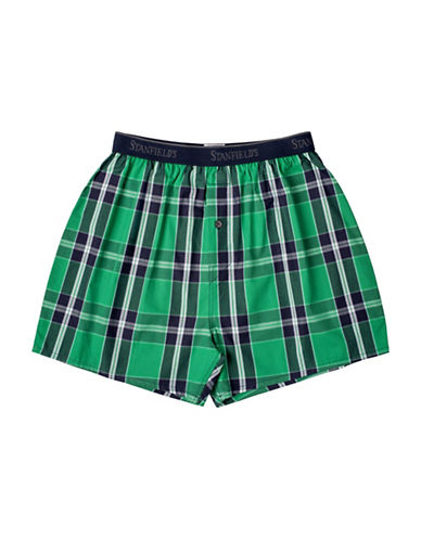 StanfieldS Plaid Woven Boxers-RED-Medium