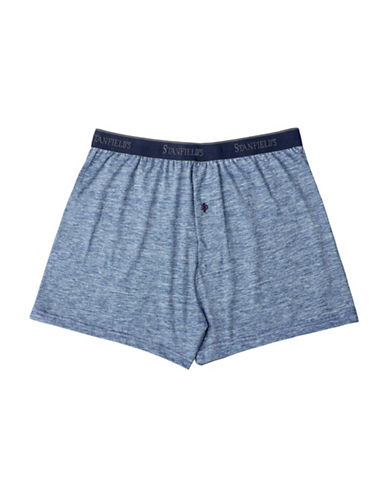 StanfieldS Hanging Slub Jersey Knit Boxers-BLUE-Large