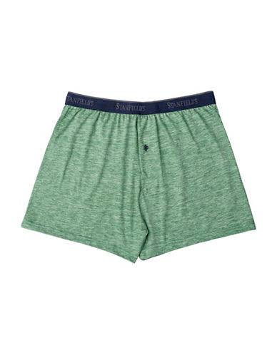 StanfieldS Hanging Slub Jersey Knit Boxers-GREEN-Medium