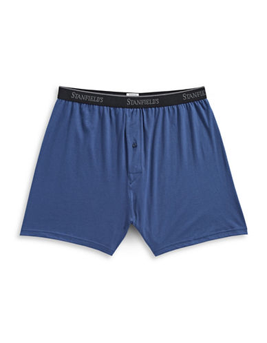 StanfieldS Knit Boxer Shorts-BLUE-Medium