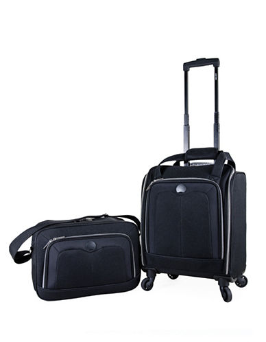 Delsey Valence Silvertone 2-Piece Luggage and Tote Bag Set-BLACK-2 Piece