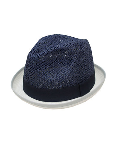 Hudson North Rolled Brim Fedora-LINEN/NAVY-Large/X-Large