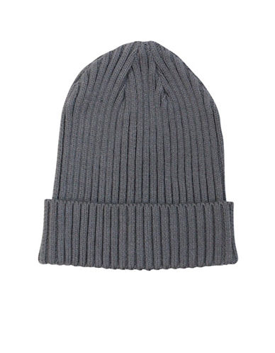 1670 Rib-Knit Cotton Beanie-CHARCOAL-One Size