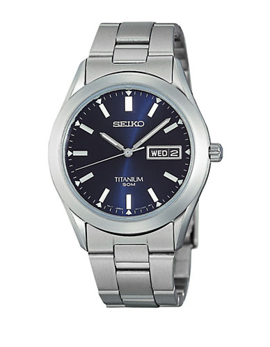 Seiko Mens 50mm Titanium Watch-GREY-One Size