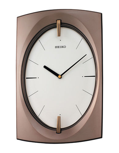 Seiko Oval Dial Rectangular Wall Clock-BROWN-One Size