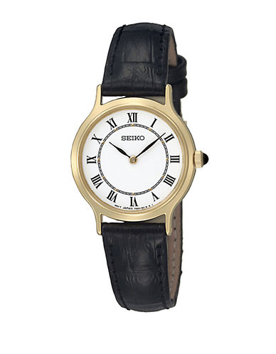 Seiko Leather Strap Watch-BLACK-One Size