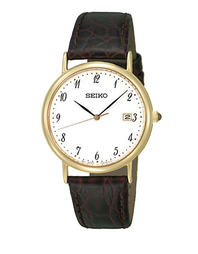 Seiko Mens Leather Watch-BROWN-One Size