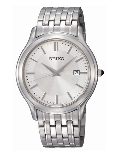Seiko SEIKO Mens Stainless Steel Watch-SILVER-One Size