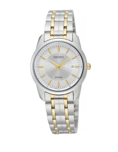 Seiko Classic Two-Tone Stainless Steel Watch-SILVER-One Size