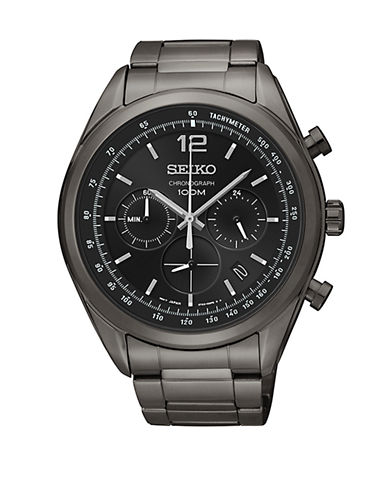 Seiko Mens Chronograph Stainless Steel Bracelet Watch-GREY-One Size