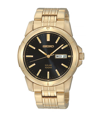 Seiko Solar Goldplated Stainless Steel Watch-BLACK-One Size