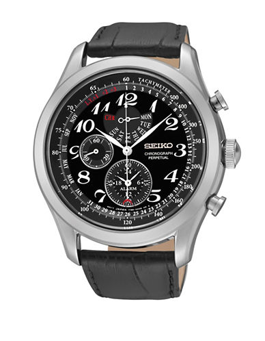Seiko Chronograph Stainless Steel Leather Strap Watch-BLACK-One Size