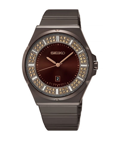 Seiko Conceptual Pave Hard-Coated Stainless Steel Watch-BROWN-One Size