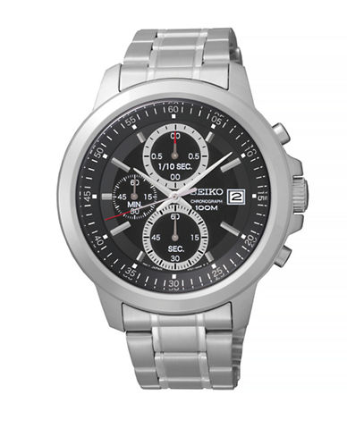 Seiko Stainless Steel Chronograph Watch-SILVER-One Size