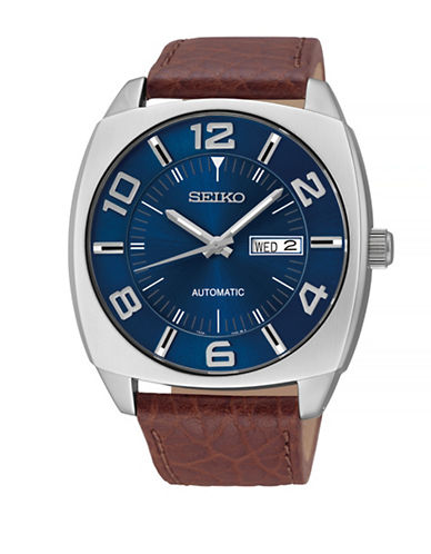 Seiko Conceptual Automatic Brown Leather Strap Watch-BLUE-One Size