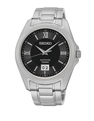 Seiko Stainless Steel and Sapphire Crystal-SILVER-One Size