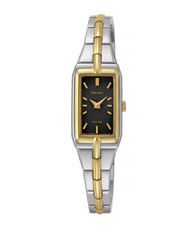 Seiko Solar Two-Tone Stainless Steel Watch-BLACK-One Size