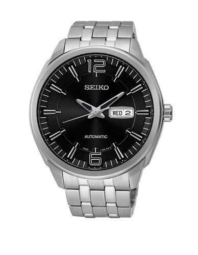 Seiko Analog Black Dial Watch-SILVER-One Size