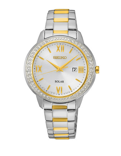 Seiko Solar Two-Tone Crystal Analog Watch-TWO TONE-One Size