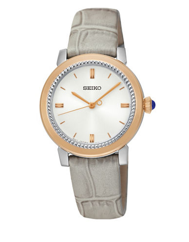 Seiko Cabochon Leather Strap Watch-GREY-One Size