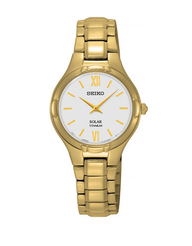Seiko Solar Goldplated Titanium Watch-GOLD-One Size