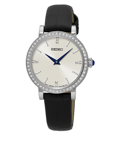 Seiko Analog Crystals Leather Strap Watch-BLACK-One Size