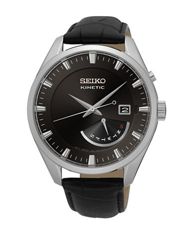 Seiko Analog Kinetic Stainless Steel Leather Strap Watch-BLACK-One Size