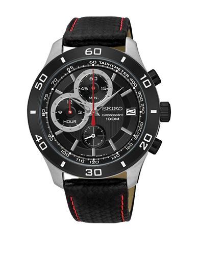 Seiko Chronograph Tachymeter Black Leather Strap Watch-BLACK-One Size